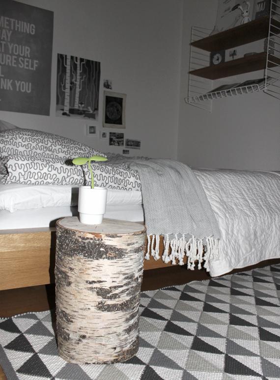 björkstubbe som sängbord